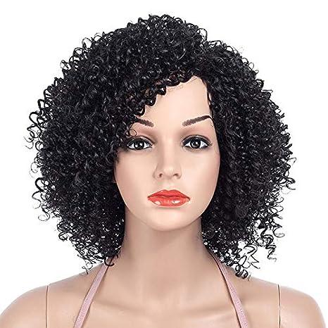 DakTou Peluca Afro Mujer Peluca Rizadas Afro Natural Peluca Disfraz Negra  Bob Sintetica Pelo Corta 1B 3b8213ea244b