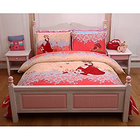 Louis Tommy 4 Pieces Exquisite Girl Embroidery Soft Sanding Comforter Set Full Queen Red