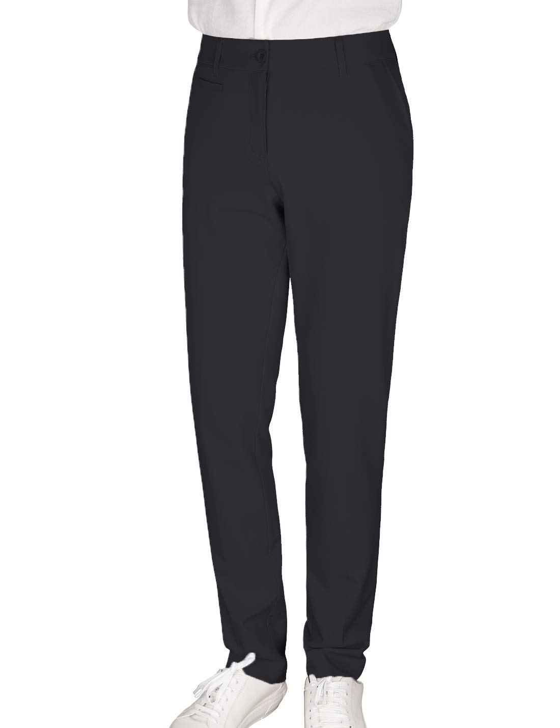 Women's Golf Pants Stretch Straight Lightweight Breathable Twill Work Chino Ladies Pants Size 14 Black by Bakery