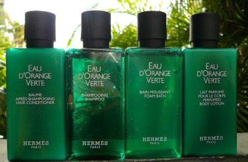 HUGE 52 Pcs. Luxury Bath Set! Hermes d'Orange Verte 16.2oz Each of Body Cleansing Gel, Body Lotion, Shampoo and Hair Conditioner + Bonus 4 Savons Parfumes (Perfumed Soap) Soap Set
