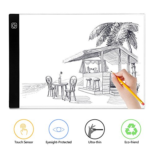 A4 Light Box, BTGGG Portable LED Tracing Light Pad Weeding Vinyl Dimmable Brightness LED Drawing Pad Table Stencil Display with USB Power Cable for Kid and Adult [Flicker-Free] [Eye Protection] by BTGGG