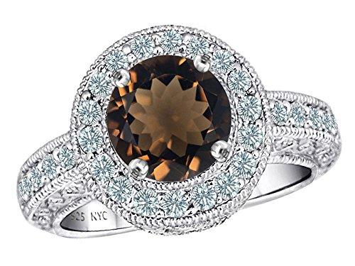 Star K Genuine 7mm Round Smoky Quartz Ring Sterling Silver Size 8 (Smoky Cubic Ring Zirconia Quartz)