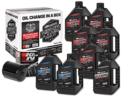 Maxima Racing Oils Black 90-129018B Milwaukee-Eight Synthetic 20W-50 Filter Complete Oil Change Kit, 256. Fluid_Ounces