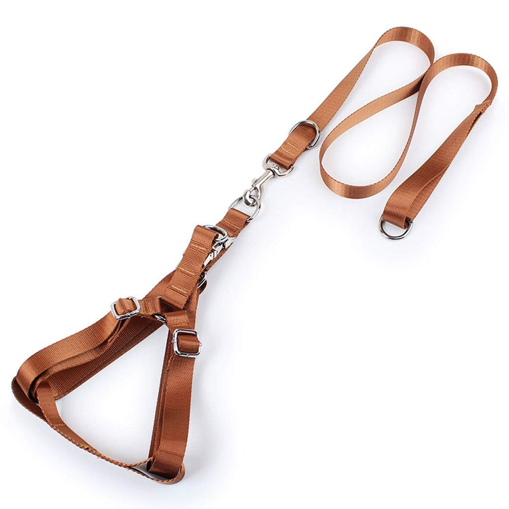 BROWN Large BROWN Large Polyester Dog Leash Chest Strap Pet Supplies Dog Leash (color   Brown, Size   L)