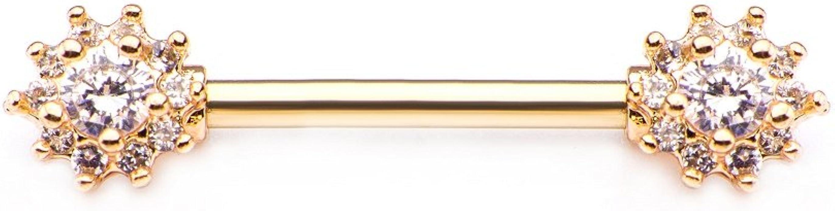 GranTodo 316 Surgical Steel 14g 9//16 Nipple Barbells Forward Facing Prong Set Diamond Shape CZ Gem