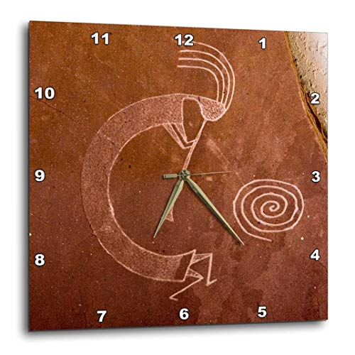 10 American Clock - 3dRose DPP_92520_1 Pictographs of The Pueblo Indians, Native American Us32 Awy0010 Angel Wynn Wall Clock, 10 by 10