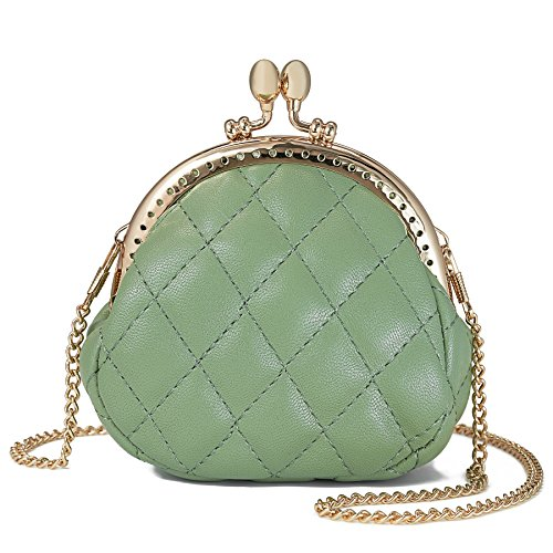 WOZEAH Cute Rhombic With The Chain Buckle Coin Purse, Vintage Pouch Kiss-lock Change Purse Wallets ()
