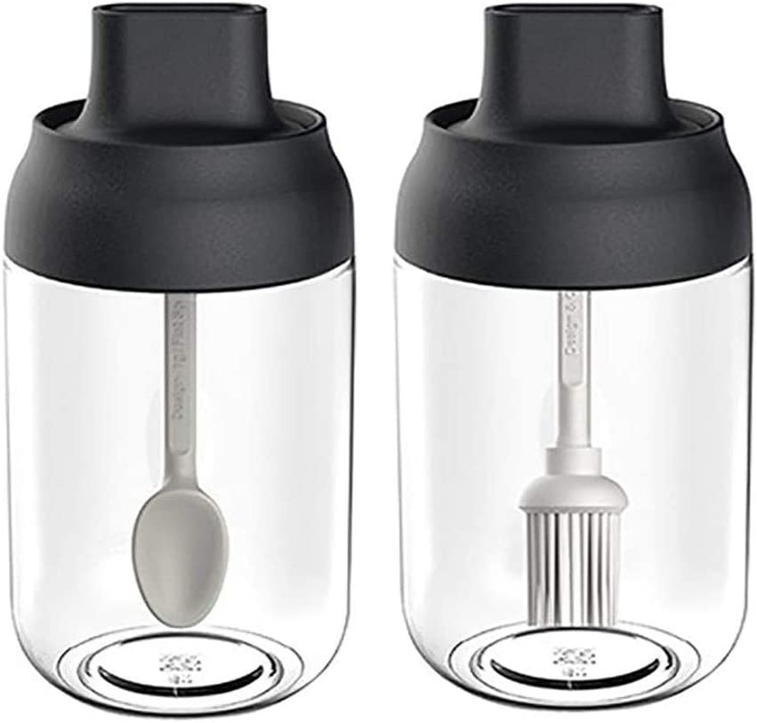 BONA FIERER Seasoning Box Set of 2 Spice Jars Salt Sugar Glass Condiment Pots Transparent Storage Container with Spoon and Olive Oil Bottle with Brush with Labels for Kitchen