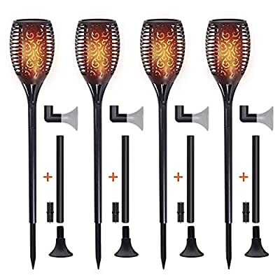 Permande Flickering Flames Solar Garden Lights, Outdoor Waterproof Lawn Lamp, Landscape Decoration Dancing Flame Lighting Dusk to Dawn, Auto On/Off Tiki Torches for Patio Yard Driveway, 4 Pack