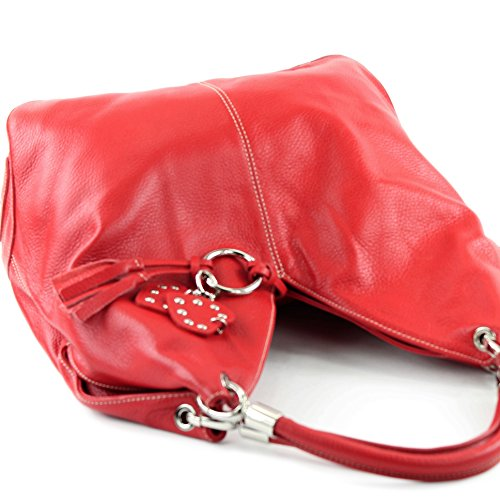 Made Italy - Bolso al hombro de cuero para mujer rojo