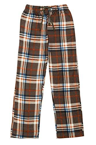 (North 15 Men's Super Soft, Plaid Polar Fleece Lounge Pants-1225-Print4-XL Brown)