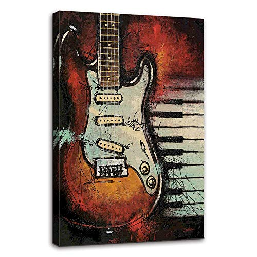 AMEMNY Music Wall Decor Abstract Guitar Canvas Red Purple Prints Paintings Home Decor Artwork Life Pictures Posters HD Printed for Bedroom Living Room Framed Ready to Hang