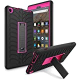Amazon Kindle Fire HD 8 (2017 7th Gen) Case, AICase 3 in 1 Three Layer Hybrid Rugged Heavy duty Shockproof Full Body Protective Cover for All-New Amazon Kindle Fire HD 8'' (Black/Rose)