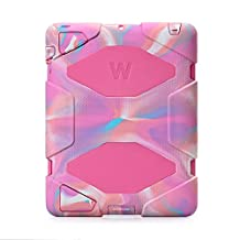 iPad 2, iPad 3, iPad 4 Case, Travellor® [Shockproof] [Heavy Duty] [Military] Extreme Tough & Drop Resistance Soft Silicone Case with Kickstand for Apple iPad 2/3/4. (Whistle + Stylus Pen + Carabiner) (Pink Camo-Rose)