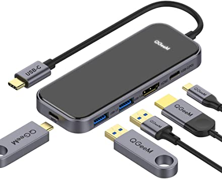 Photo of USB C HUB Adapter, QGeeM 5-in-1 USB C Dongle that is available for checkout. Information about equipment follows the image.