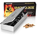 Grill Smoker Box for Wood Chips - Use a Gas or Charcoal BBQ and Still Get That Delicious Smoky Barbecue Flavored Grilled Meat - Non Warp Stainless Steel & Opens Easy with Hinged Lid