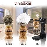 Anbbas-Shaving-Set-with-Best-Badger-Shaving-BrushStand-and-Resin-BowlShaving-Soap-35ozSolid-Olive-Wood-Handle-Straight-Shavette-RazorLeather-Shaving-Razor-Bag10pcs-Blades7in1-Kit-for-Men