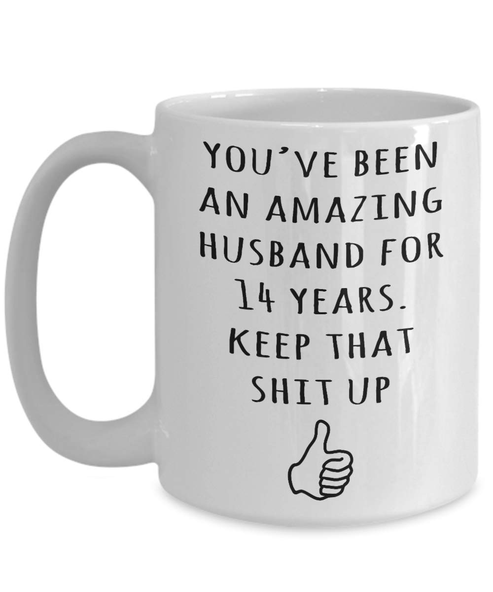 Amazon.com 14th Wedding Anniversary Gift For Husband Him Men 14 Years Married Funny Celebrating Marriage Coffee Mug Present Idea Kitchen u0026 Dining  sc 1 st  Amazon.com & Amazon.com: 14th Wedding Anniversary Gift For Husband Him Men 14 ...