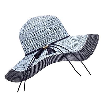 SOMALER Women Floppy Sun Hat Summer Wide Brim Beach Cap Foldable Cotton Straw Hat