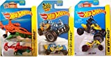 2015 HW Off-Road Hot Wheels set Mountain Mauler - Sky Knife Helicopter cars Buggy & Sand Stinger Vehicles in PROTECTIVE CASES