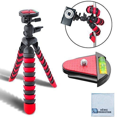 "12"" Inch Flexible Tripod w/ Wrapable Legs. Quick Release Plate for DSLR Cameras and Camcorders, eCost Microfiber Cleaning Cloth"