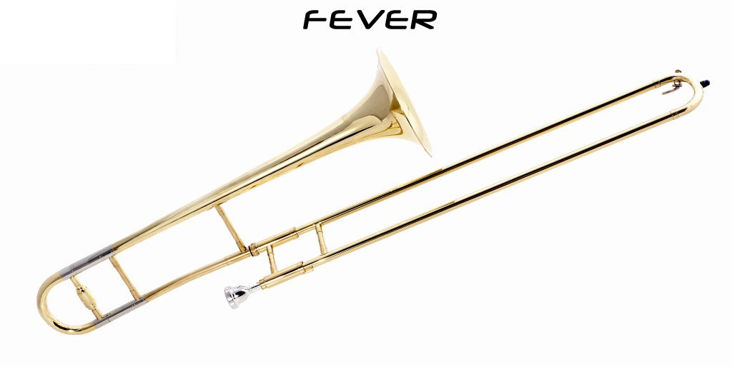 Fever FEV-ST Student Slide B Flat Trombone with Case and Mouthpiece, Gold Lacquer