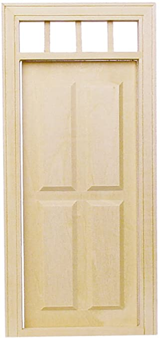 Dollhouse Miniature 1/2u0026quot; Scale Traditional 4 Panel Exterior Door