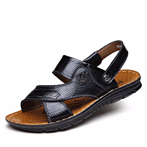 Sommer Echtleder Sandalen Männer Strand Schuh Männer Sandalen Männer Schuh Atmungsaktiv Freizeit Schuh Männer Trend ,schwarzD,US=10,UK=9.5,EU=44,CN=46