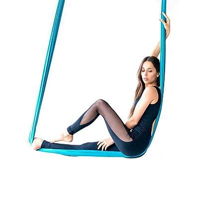 XIAOLI& Aerial Yoga Anti-Gravité Hamac ,Yoga ,Courroie De Laçage Corde Auxiliaire Inversé, S'Étirant Avec Ceinture Élastique Micro Yoga , 4M , Ciel Bleu