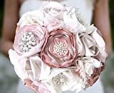 Rose Gold Champagne Blush Pink Wedding Bouquet, Cream Fabric Flower Rustic Keepsake Bridal Shabby Chic Vintage-Inspired Brooch Bouquet