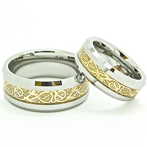 Blue Chip Unlimited Matching 7mm & 9mm Tungsten Golden Colored Celtic Dragon Inlay Wedding Rings Engagement Bands (Check Sizes) 4-17