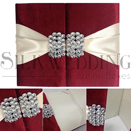 Wine Red Luxury Couture Wedding Invitation With Ivory Sash and Ornate Crystal Clasps