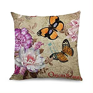 18 x 18 Hermosa fundas de cojín floral con mariposa ...