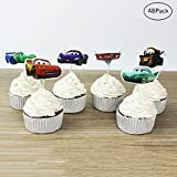 Finduat [48 Pack] Cars Themed Decorative Cupcake Topper For Kids Birthday Party Baby Shower Cake Decorative (48 Pack)