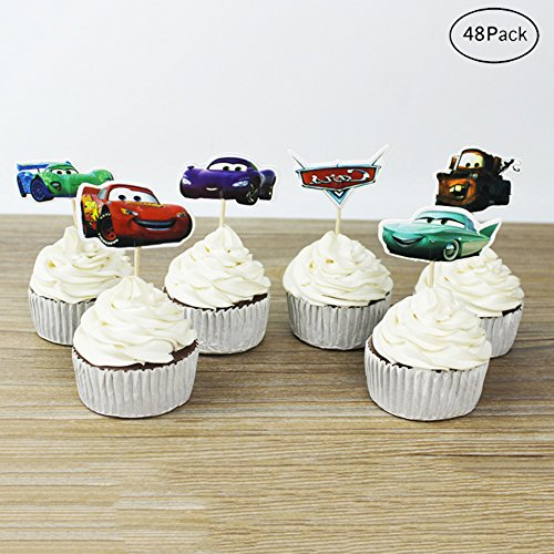 Finduat [48 Pack] Cars Themed Decorative Cupcake Topper For Kids Birthday Party Baby Shower Cake Decorative (48 -