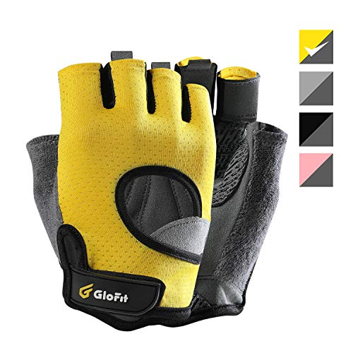 Glofit Freedom Workout Gloves, Knuckle Weight Lifting Shorty Fingerless Gloves with Curved Open Back, for Powerlifting, Gym, Crossfit, Riding, Women and Men (Yellow, ()