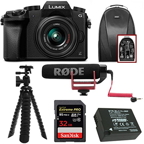 Panasonic LUMIX G7 Mirrorless Digital Camera with 14-42mm f/3.5-5.6 Lens & Rode On- Camera Microphone Accessory Bundle by Panasonic