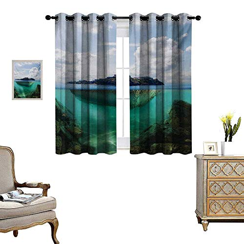 Crystal Clear Astoria (Island Blackout Window Curtain Floating Rock and Lighthouse in Crystal Clear Atlantic Water Mist Nature Photo Customized Curtains W55 x L45 Blue Grey White)