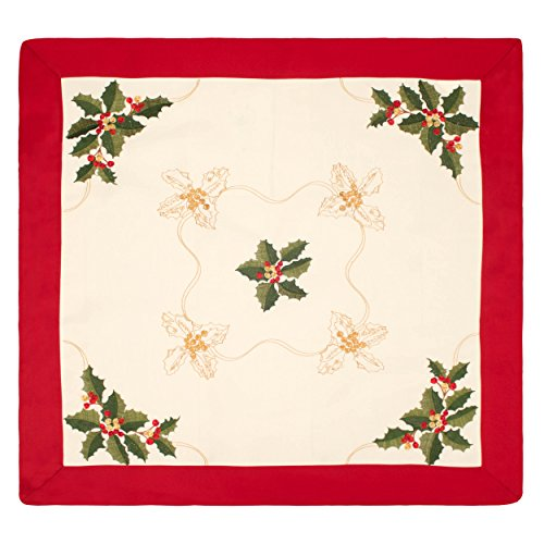 Holiday Holly Berries Embroidered Square 36 x 36 in. Table Topper, with Red Trim Border (Border Table Topper)