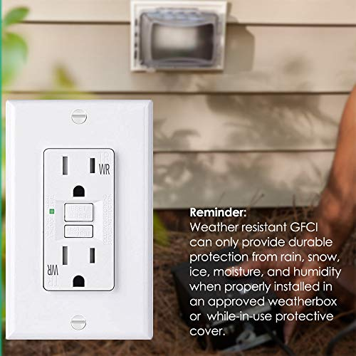 [6 Pack] BESTTEN 15A WR GFCI Outlet, Slim Outdoor Weather Resistant GFI, Tamper Resistant Receptacle with LED Indicator & Decor Wall Plate, TR Ground Fault Circuit Interrupter, UL Listed, White, USG5 by BESTTEN (Image #5)