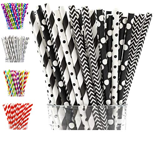 PGK 200-Box Paper Straws Biodegradable, Black and White Paper Straws in Striped, Chevron, Polka Dot - Bulk Black Paper Straws, Black and White Party Supplies and Decorations]()