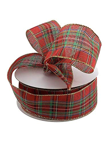Plaid Christmas Holiday Wired Ribbon – 2 1/2″ x 50 Yards, Classic Red Green Tartan Decoration, Garland, Gift Basket, Wrapping Decor, Wreaths, Bows, Presents