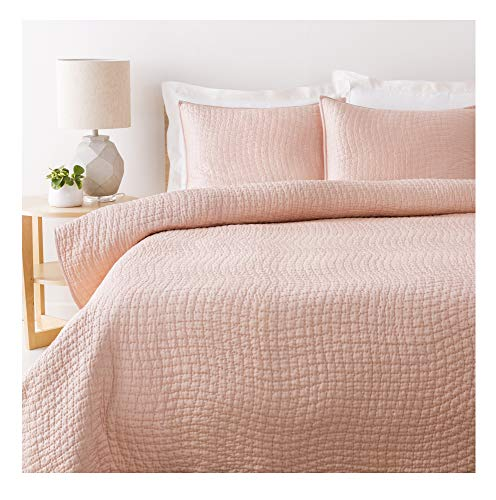 Diva At Home Sweet Dreams Bashful Pink King Size Quilt with Small Square Quilted Pattern