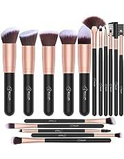 Set de brochas de maquillaje profesional BESTOPE Pinceles de maquillaje Set Premium Synthetic Foundation Brush Blending Face Powder Blush Concealers Kit de pinceles (Rose Golden)