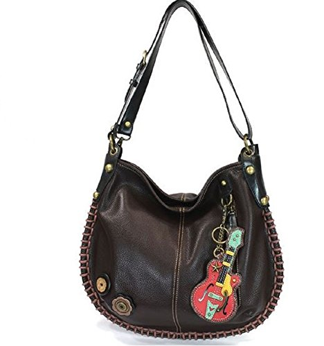 Chocolate Leather Zip Hobo Bag - 8