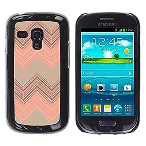 FECELL CITY // Duro Aluminio Pegatina PC Caso decorativo Funda Carcasa de Protección para Samsung Galaxy S3 MINI NOT REGULAR! I8190 I8190N // Peach Teal Pattern Pastel