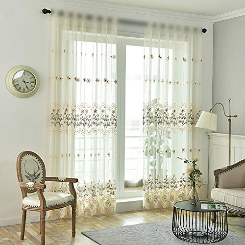 Girls Room Solid Linen Sheer Curtains Tulle Panels for Living Room Light Flow Thin Fabric Kids Curtains Rod Pocket Voile Nursery Window Treatment Drapes for Living Room 1 Panel