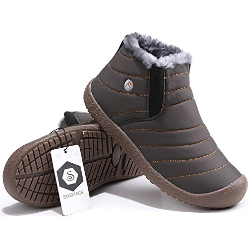 02 Boots Warm Schuhchan Ankle Leather Grey Boots Waterproof Winter Snow Mens vTtrqwtFa