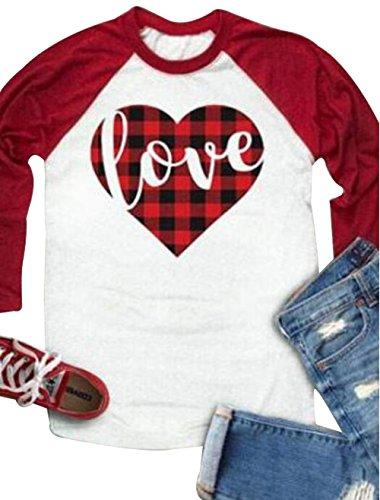 Cute Plaid Shirts (FAYALEQ Women's Long Sleeve Plaid LoveHeartPrinted O-NeckRaglan BaseballT-Shirt Tops Size XL (Red))