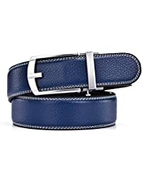 HW Zone Belt for Men - Men's soft Leather Ratchet Belt with Automatic buckle for color reliable